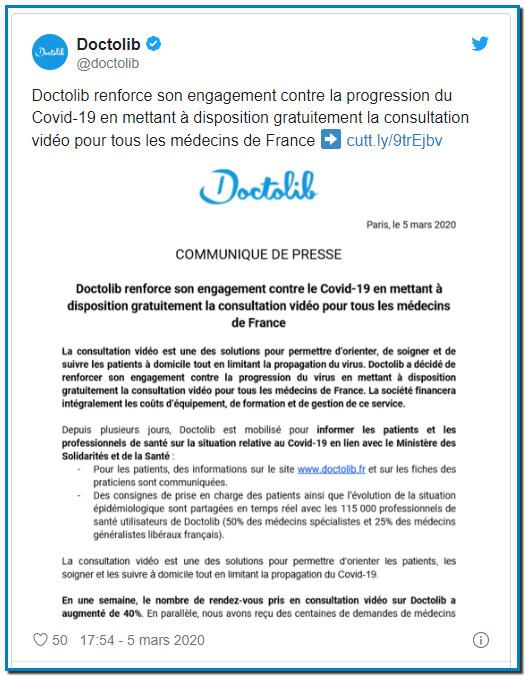 Le leader français de la téléconsultation, Doctolib, annonce ce jeudi, via un communiqué, mettre « à disposition gratuitement » son service « pour tous les médecins » du pays pendant la durée de l'épidémie de coronavirus.