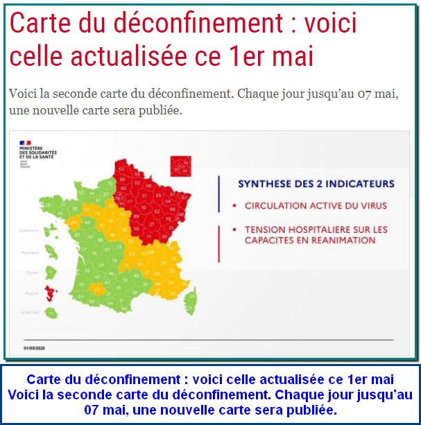 FRANCE - Carte du déconfinement : voici celle actualisée ce 1er mai