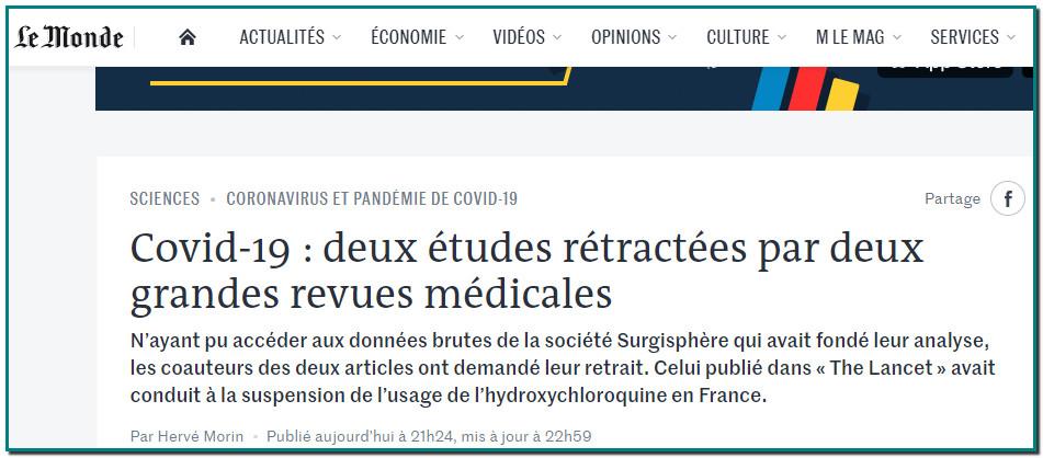 NEWS: The Lancet a annoncé le retrait de l'étude publiée le 22 mai dans ses colonnes qui suggérait que l'hydroxychloroquine, associé ou non à un antibiotique comme l'azithromycine, augmentait la mortalité et les arythmies cardiaques