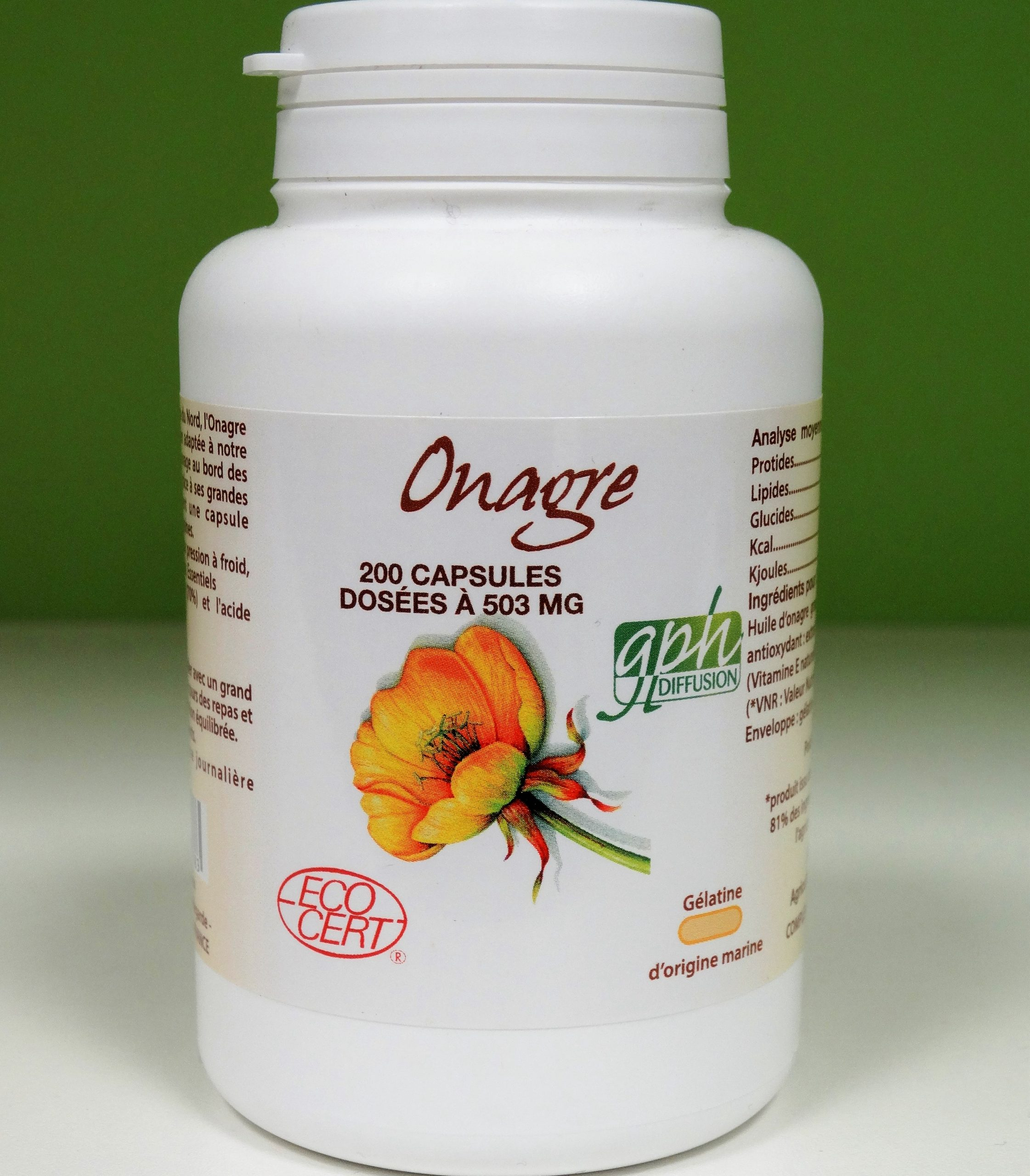 Huile d'Onagre bio 500mg 200 capsules GPH Diffusion