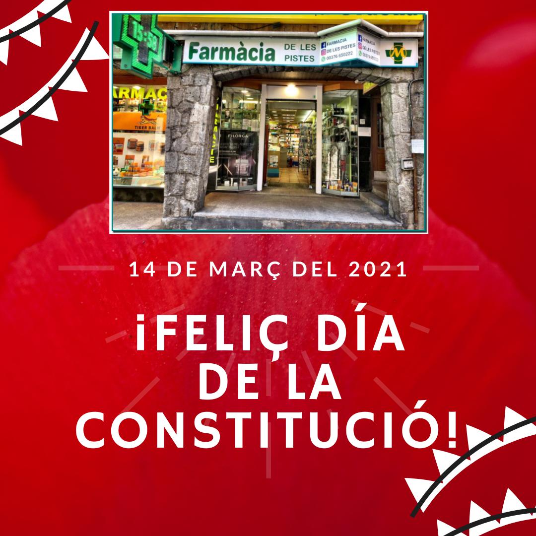 Feliç dia de la Constitució - Farmàcia de les Pistes - 14 de març del 2021